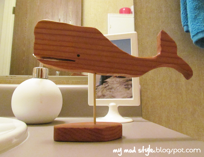 Front Bathroom wood whale