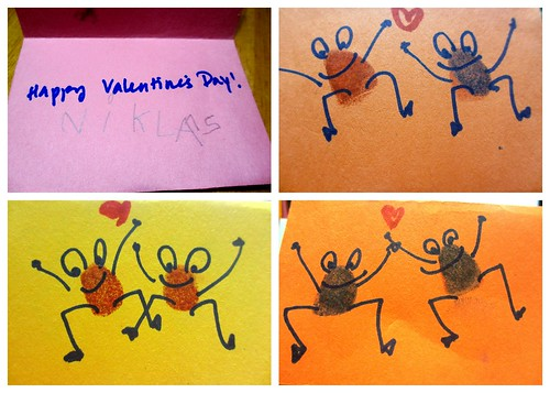Homemade Valentine's Day card (Thumb print animals)