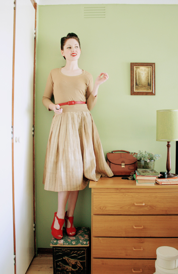 wool linen full skirt a