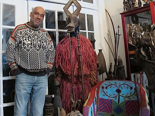 2 Danny Simmons Standing Next to Bwa People's Dance Costume from Burkina Faso