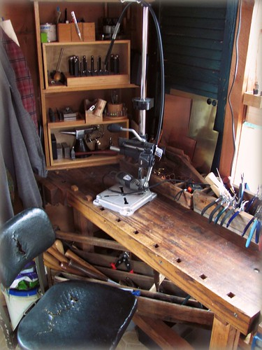 corner with workbench and tools by Stephanie Distler