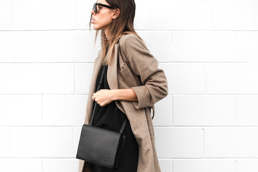 modern legacy blog camel long coat robe wool Zara slide sandals pool Alexander Wang Prisma Envelope cross body bag silk shift dress Nicholas black outfit street style blogger Australia (3 of 8)