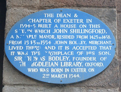 Photo of Dean and Chapter of Exeter, John Shillingford, John Bodley, and Thomas Bodley blue plaque