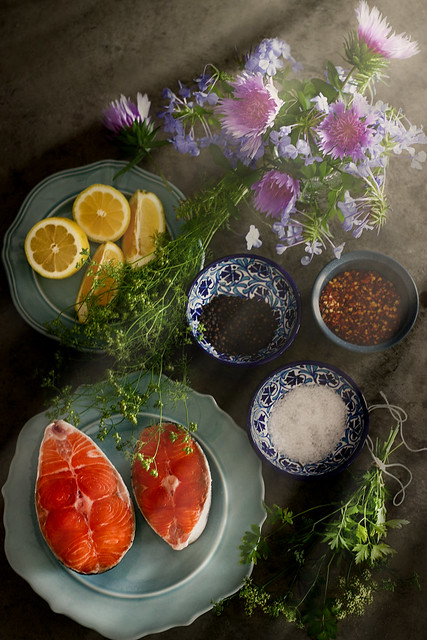 Salmon and frying ingredients