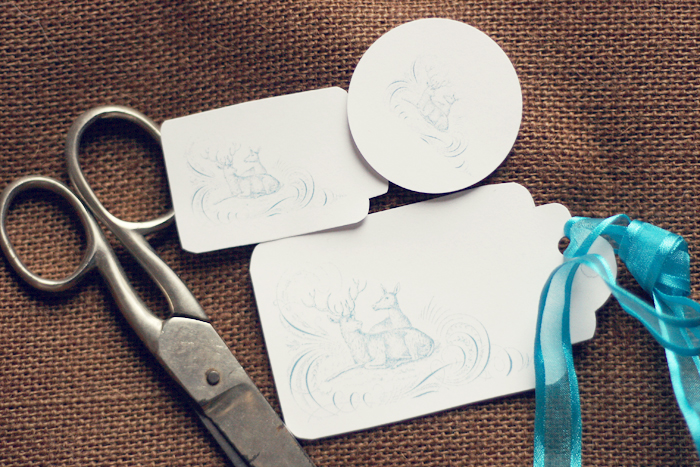 christmas deer gift tags in blue