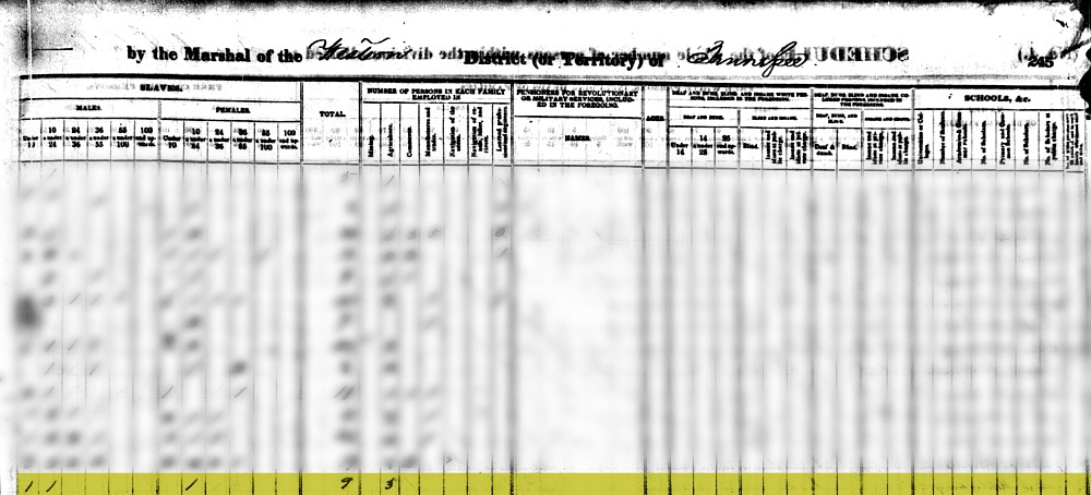 1840 Slave Census McMillen Family