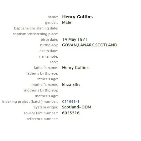 William Henry Gollings Birth