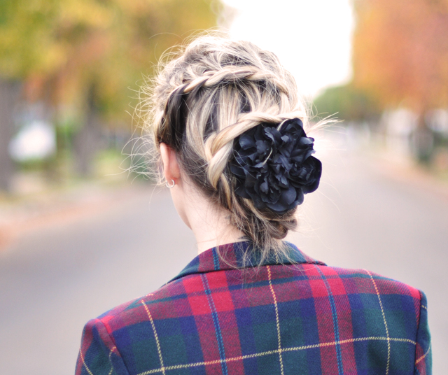 zig zag french braid-hair-black flower-plaid