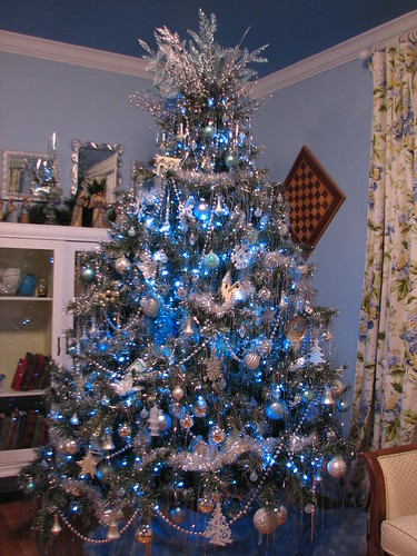 blue and silver tree in the guest room