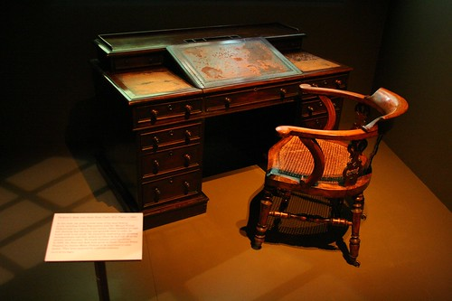 The famous desk where Dickens worked