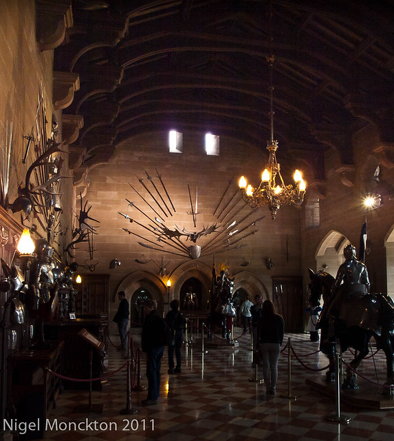 Warwick Castle - Great Hall emphasising armoury display
