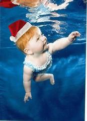 swimming in santa hat