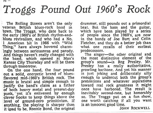 06-17-78 NYT Review - Troggs @ Max's Kansas City