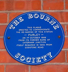 Photo of Purley railway station blue plaque