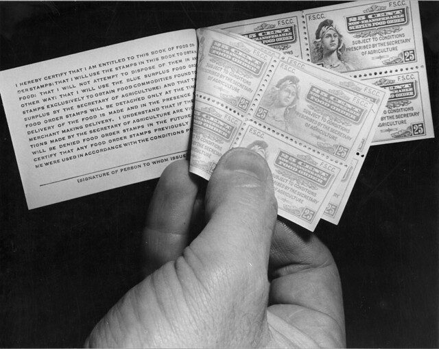A book of paper food stamps used in 1941