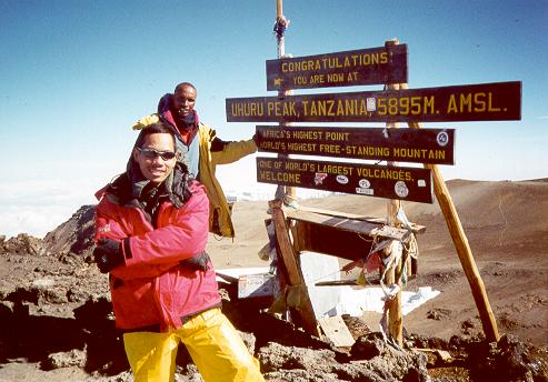 Sept 2002.Garduch on top of Uhuru Peak, Kilimanjaro (Tanzania, East Africa)