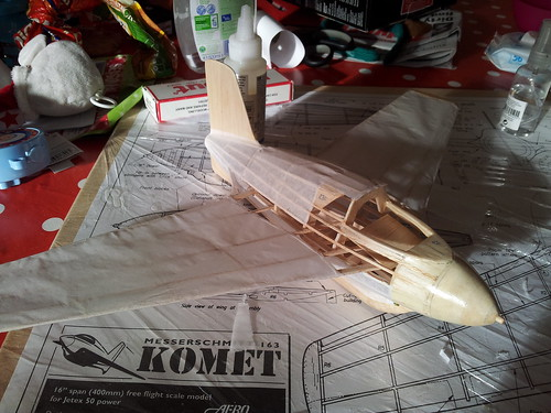 Nearly finished applying tissue to me163 fuselage