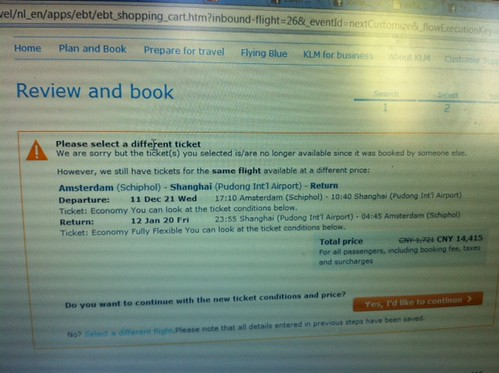 But then KLM says the ticket has just been sold...