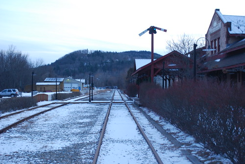 railroad winter snow cold station twilight december afternoon dusk snowy traintracks tracks newengland newhampshire nh bm rails depot frigid railroadtracks railroadstation bostonandmaine mountfrontenac dustingcoating trainstationplymouth