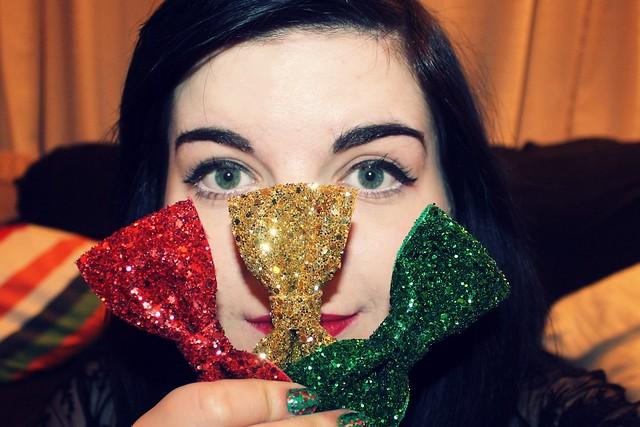 Glitter bows.