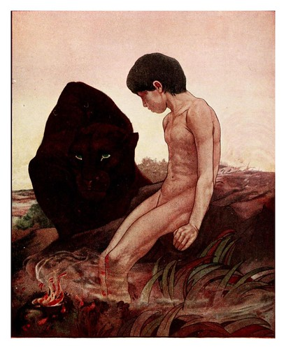 021-Mowgli y Bagheera- The jungle book 1913-Ilustrado por Edward Detmold