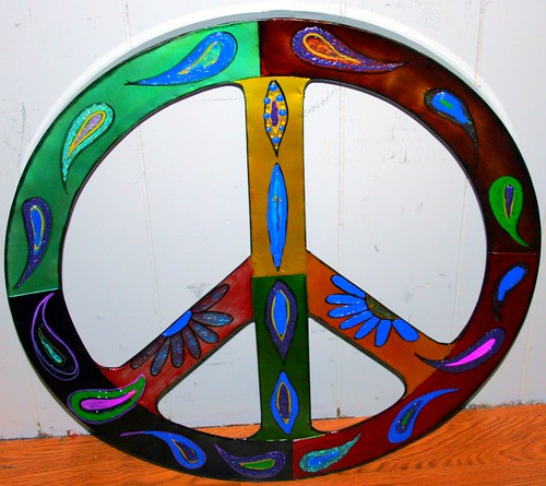 Large Metal  Peace Sign Wall Art  by Rick Cheadle Art and Designs