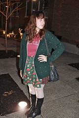 Christmas outfit: DIY skirt made from thrifted men's shirt sleeves, spotty tights, quilted boots, Harvard shirt, vintage girl scout cardigan
