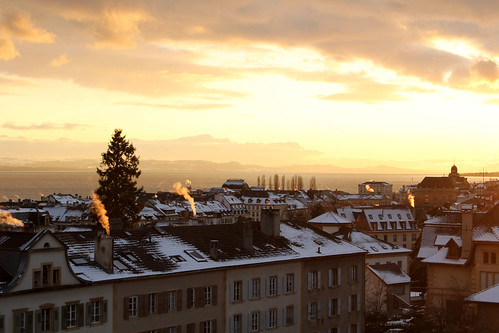 sunset over neuchatel