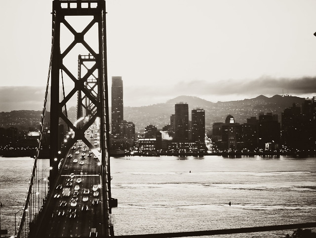 San Francisco & Bay Bridge BW View