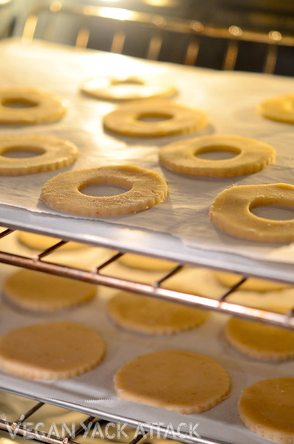 Vegan linzer cookie dough baking in the oven
