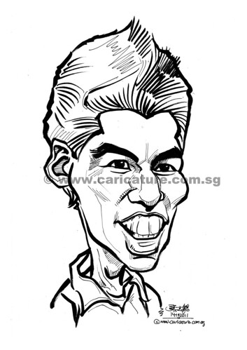 caricature of Luis Suarez (watermark)