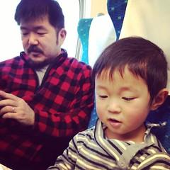 新幹線で、なかまふたり+親子と合流。