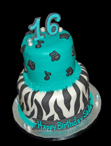 black and turquoise zebra cake with music notes for 16th birthday