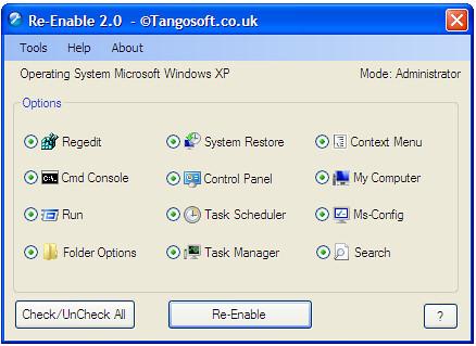 Enable করুন disable হয়ে যাওয়া RUN, Task Manager, Folder Option, Control Panel ইত্যাদি