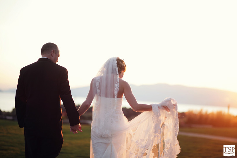 Bride and Groom at Hotel Bellwether Sunset