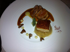 Roasted Suffolk pork fillet with crispy suckling pig belly, apple and Madeira jus