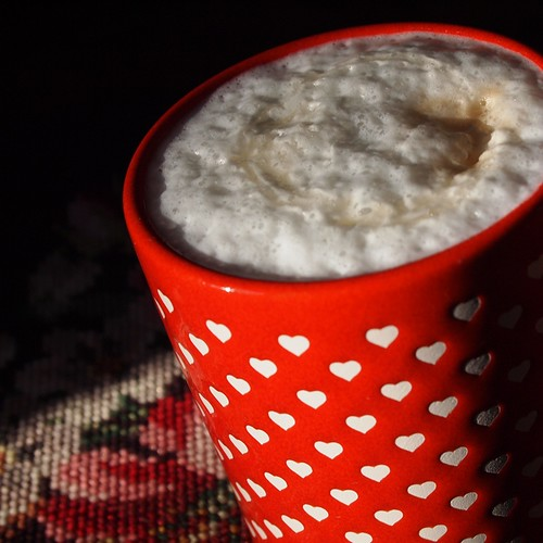 heart latte - foamy goodness with honey on top!