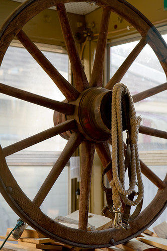 A wheel from one of the wagons that took the Joyce family to their Wyoming homestead.