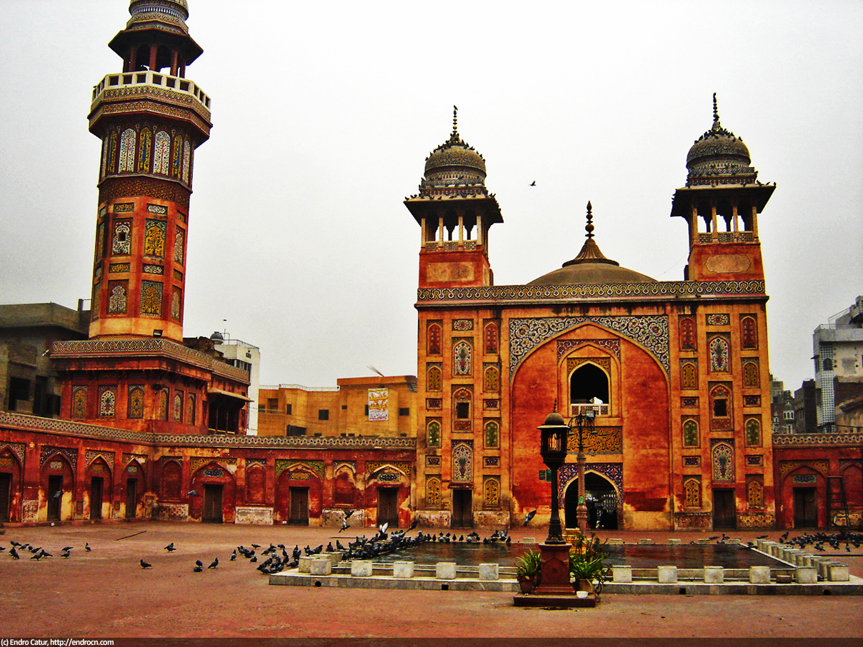 One side of Wazir Khan Mosque, Lahore, Pakistan. Colorful facade is common amongst mosques in Silk Road countries