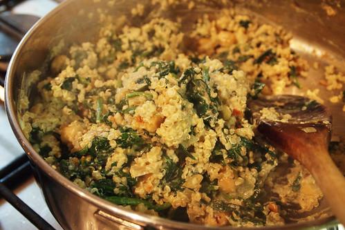 Stirring through the quinoa and creme fraiche