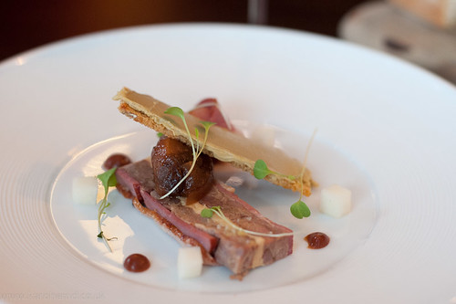 Second starter: duck terrine, sorbe, fig, liver parfait on toast