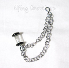Silver plug double cartilage chain earring