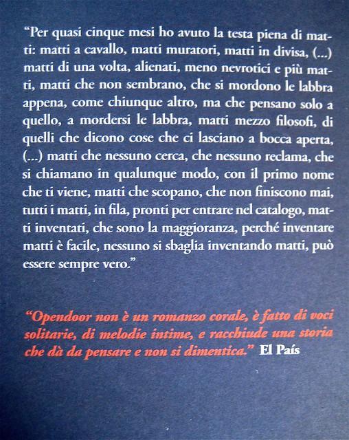 Opendoor, di Iosi Havilio, caravan edizioni 2011; progetto grafico di Flavio Dionisi, ill. di cop. ©DorianGray. quarta di copertina (part.), 1
