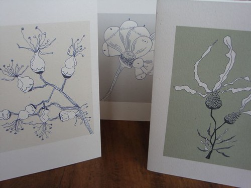 set of 3 botanical cards
