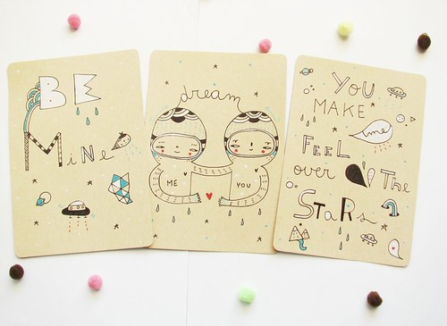 Hand drawn postcards - Set of 3 by Pinkrain Indie Design