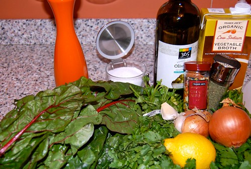 Ingredients for Swiss Chard and Herb Soup with Feta