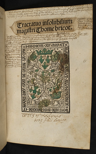 Annotated title-page of Bricot, Thomas: Insolubilia; Obligationes