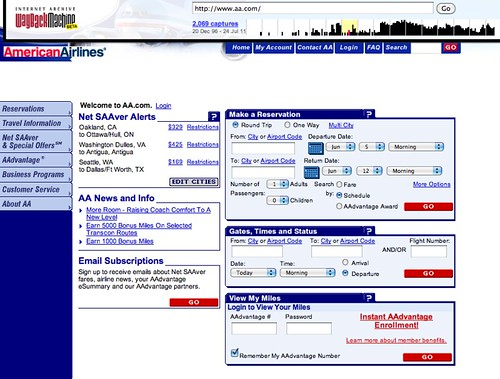 American Airlines Website 2002