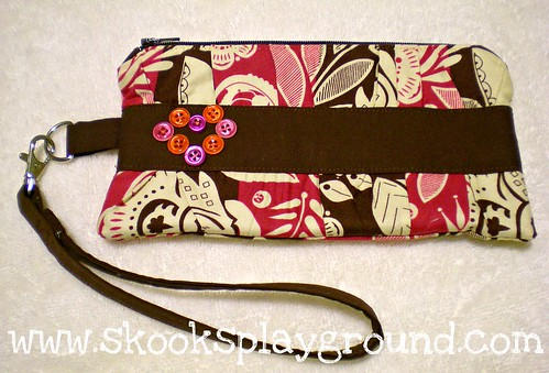 Button Clutch with Removable Wrist Strap