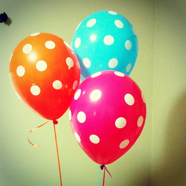 My baby will be three tomorrow. And all she wanted was a pink, orange, and blue balloon. So easy to please.